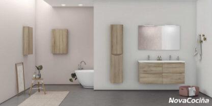 baño completo modular con doble lavabo y bañera en tonos marrones