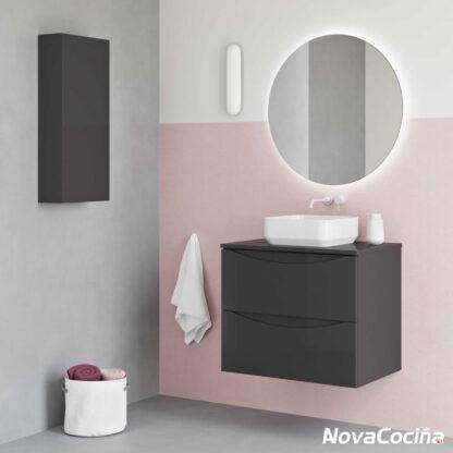 módulos de baño en tonos grises con lavabo sobre encimera