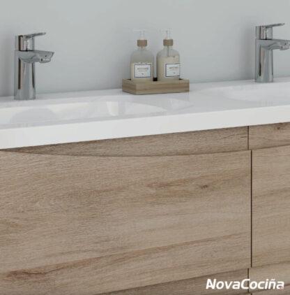 detalle de mueble de baño con doble pileta
