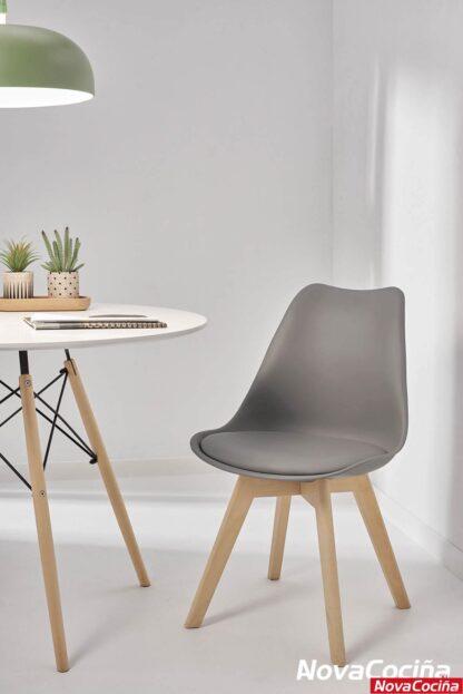 Silla con respaldo gris ara-elba (2) de estilo Nórdico de A Nova Cociña