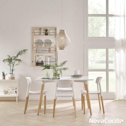 Imagen de mesa estilo nórdico pisa, blanca con patas de madera