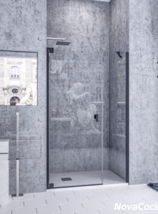 Mampara de ducha frontal abatible Bagdad negro