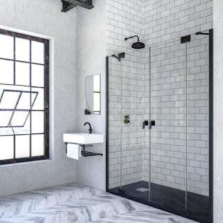 Mampara de ducha frontal abatible Bali negro