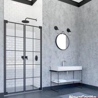 Mampara de ducha frontal abatible Doha negro