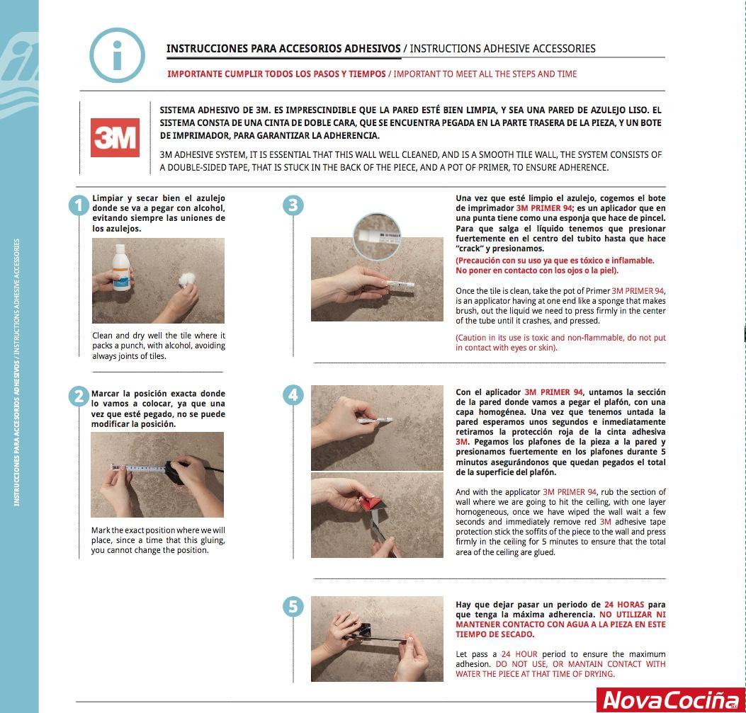 instrucciones para accesorios adhesivos