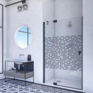 Mampara de ducha frontal abatible Kabul negro