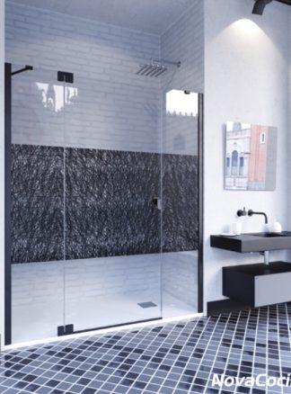 Mampara de ducha frontal abatible Kobe negro