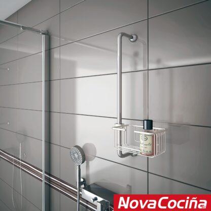 Jabonera central para barra de ducha