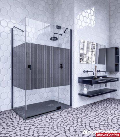 Mampara de ducha angular Surín negro