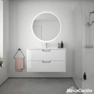 Conjunto completo de baño LIFE blanco con espejo redondo y retroiluminación