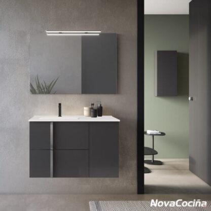 mueble de lavabo negro con detalle en blanco