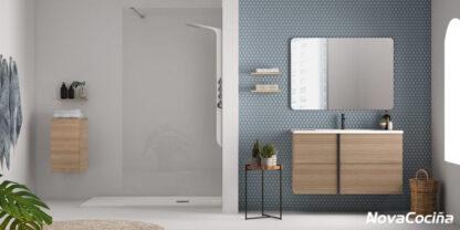 mueble de lavabo marrón con detalle en negro