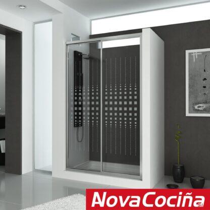 Mampara de ducha frontal-angular de correderas TASMANIA