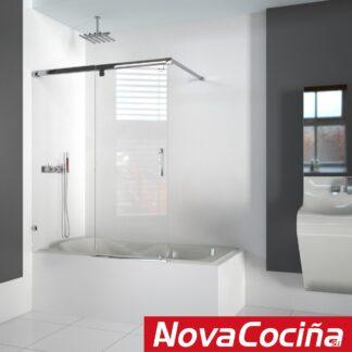 Mampara de bañera frontal 1 corredera y 1 fija TAVIRA