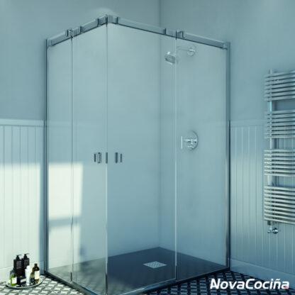 Mampara de ducha angular de corredera GINEBRA