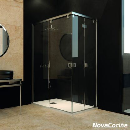 Mampara de ducha angular practicable HELSINKI