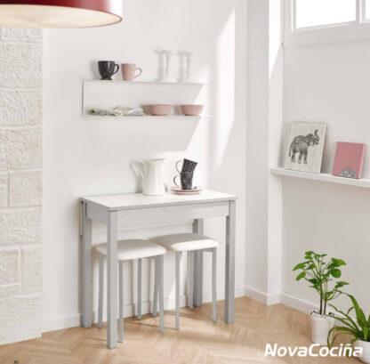 Mesa abatible frontal de color blanca BAYONA con pocillos y jarra de café