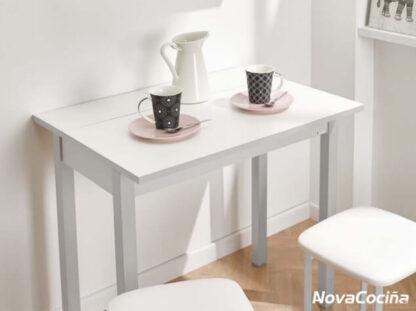 Mesa abatible frontal de color blanca BAYONA-4 con pocillos y jarra de café