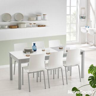 Mesa extensible blanca y gris de cristal ATENAS