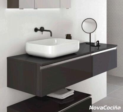 Lavabo modular en tonos negros minimalista