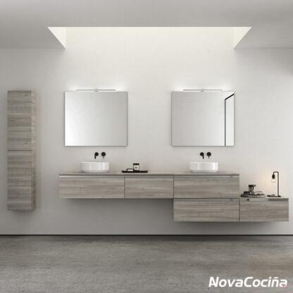 lavabo doble modular en tonos madera