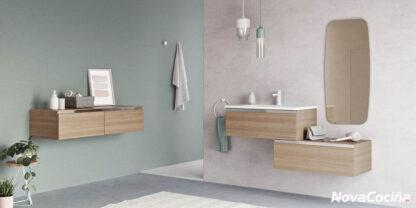 lavabo y mueble suspendido con espejo