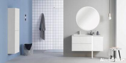 conjunto de lavabo y espejo redondo