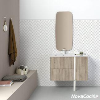 conjunto de baño y espejo línea minimlista en tonos madera