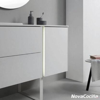 mueble línea minimalista y tonos grises