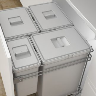 cajón abierto con cubos de basuras de doble instalación