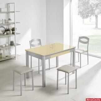 mesa de cristal crema delta