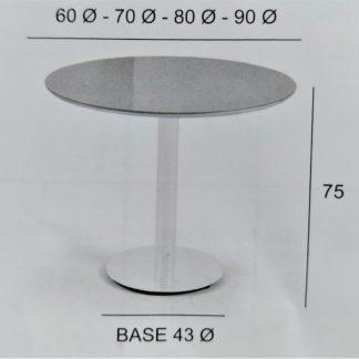 mesa ronda de cristal fija